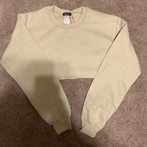 BooHoo Nude Cropped Sweatshirt